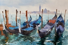 Moored Gondolas Venice